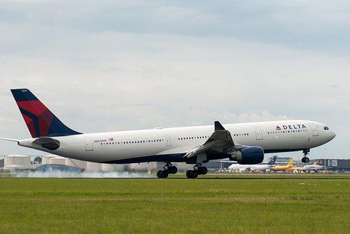 Plane, Delta, Airline, Runway, Schiphol