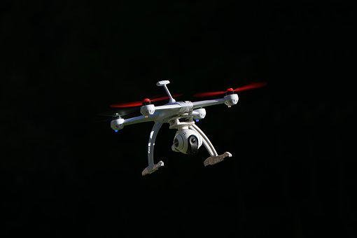 Drone, Quadrocopter, Black Background, Flying Machine