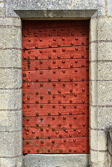 Door, Former, Wood, Castle, Chinon, France, Middle Age