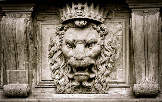 Lion, King, Crown, Stone, Stone Line, Sculpture