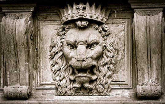 Lion, King, Crown, Stone, Stone Line, Sculpture