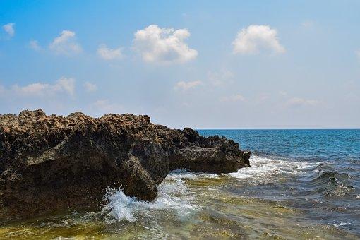 Rocky Coast, Wave, Sea, Sky, Clouds, Nature, Landscape