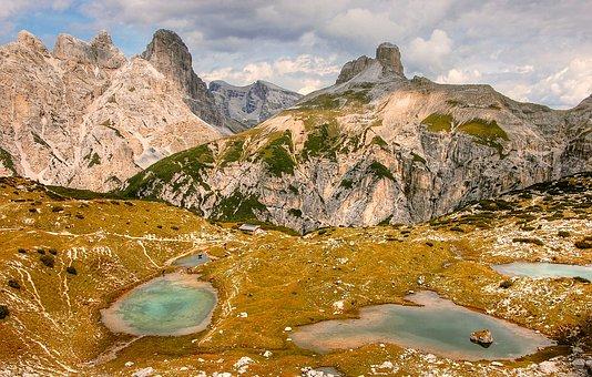 Tin Lakes, Long-alpe, Dolomites, Mountains, Italy