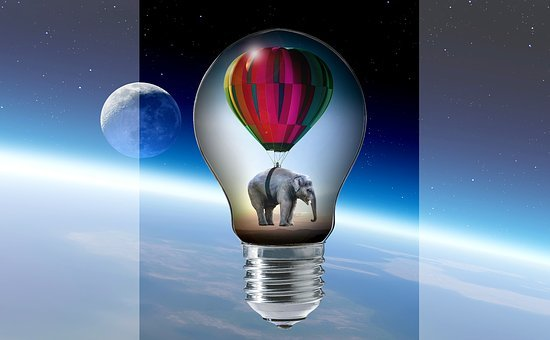 Elephant, Balloon, Pear, Light Bulb, Clouds, Moon