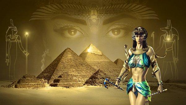 Fantasy, Egypt, Pyramids, Desert, Sand, Sahara, Gold