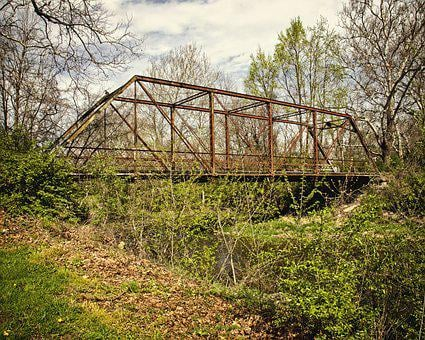 Bridge, Scenery, Trees, Artistic, Art Print
