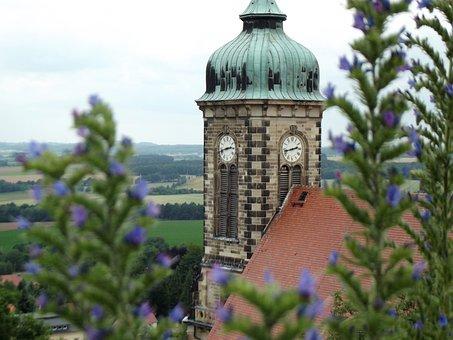 Stolpen Castle, Stolpen, Castle, Church Clock, Church