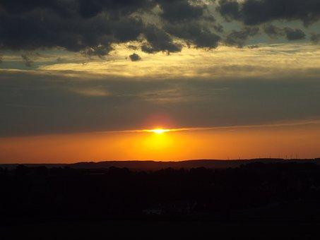 Afterglow, Oberschönenfeld, Sunset, Sky, Abendstimmung