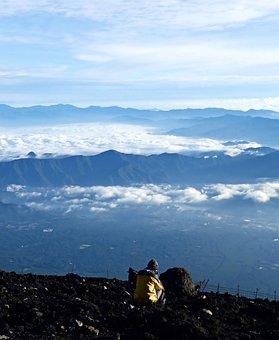 Mountains, Top, Reflection, Man, Clouds, Japan