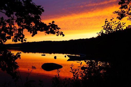 Linden, Lake, Smaland, Sweden, Waldsee, Boats, Sunset