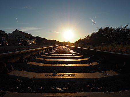 Path, Track, Train, Stop, Station, Blue Sky, Locomotive