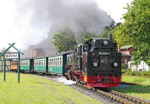 Rügen, Rasender Roland, Putbus, Exit, Departure
