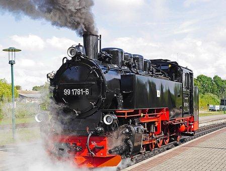 Steam Locomotive, Rasender Roland, Rügen, Putbus