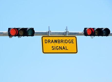 Draw Bridge Signal, Red Light, Warning, Sign, Red