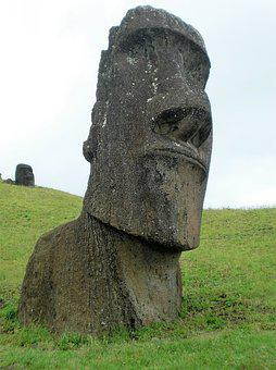 Image, Easter Island, Man, Buried, Torso, Old, Face