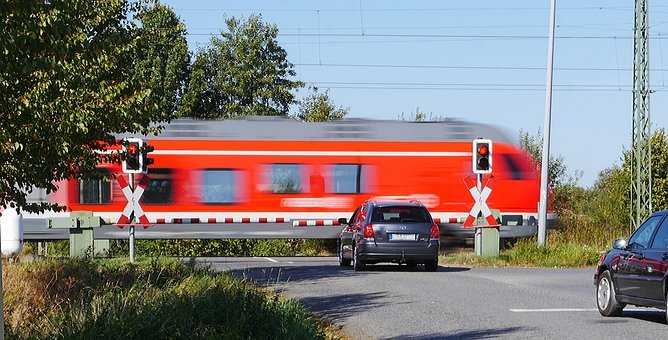 Level Crossing, Transit, Barriers, Red Light, Wait
