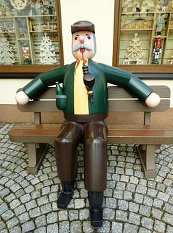 Wood Sculpture, Smoker, Grandfather, Folk, Art Form