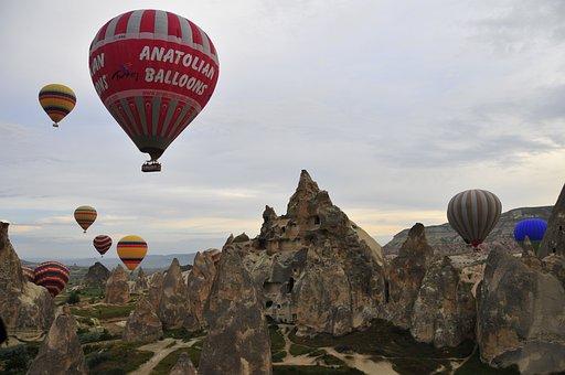 Balloon, Balloons, Ballooning, Sky, Turkey, Stone