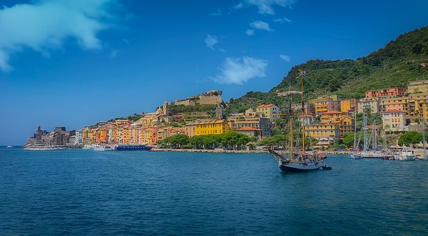Italy, Sea, Ship, Houses, Color, The Sky