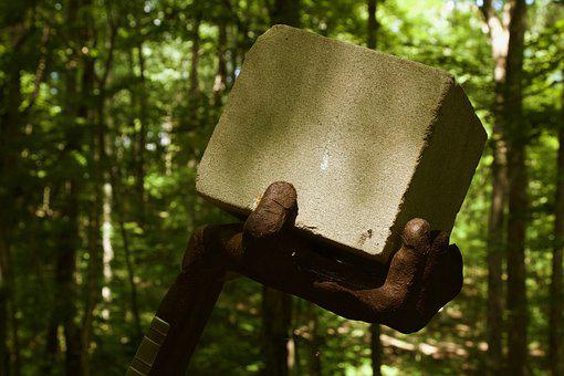 Sculpture, Forest, Abstract, Nature, Art, Cube, Hand