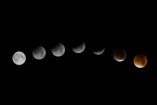Moon, Lunar Eclipse, Red Moon, Red, Black, White