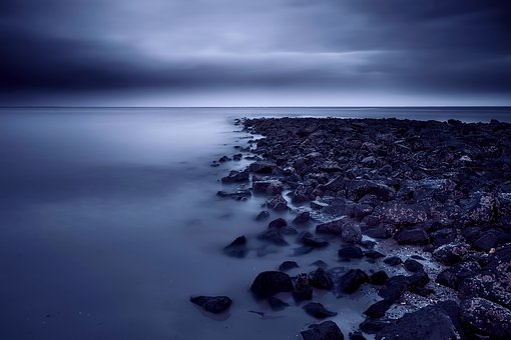 Sea, Ocean, Sunset, Sky, Clouds, Seashore, Jetty