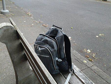 Backpack, Bench, Outdoors