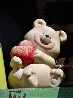 Bear, Sculpture, Stone Figure, Fun, Heart, Decoration