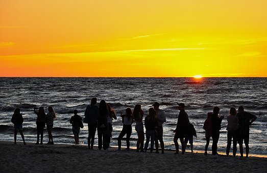 Sunset, People, Silhouettes, Observer, Watch