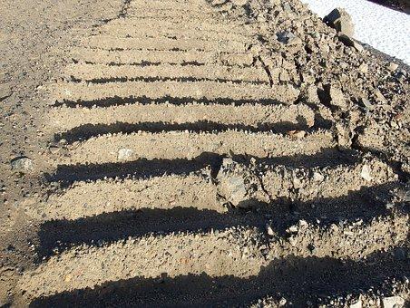 Tracks, Track, Road, Sand, Dirt, Stripes, Shadow