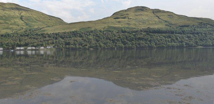 Water, Loch, Hills, Reflections, Landscape