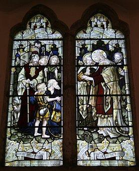 Stained Glass Window, Mark 10, Luke 18, Jesus, Miracle