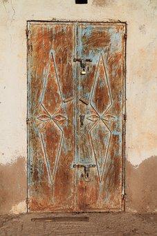 Steel, Door, Rusty, Locked, Metal, Gate, Closed