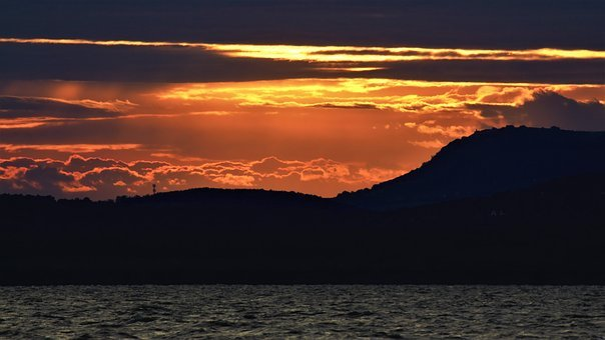 Lake Balaton, Sunrise, Sunlight, Day S, Orange