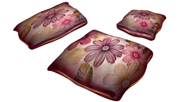 Pillow, Pattern, Flowers, Png, Isolated, Textiles