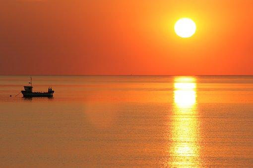 Sunset, Sea, Boat, Ocean, Sun, Water, Nature, Beach