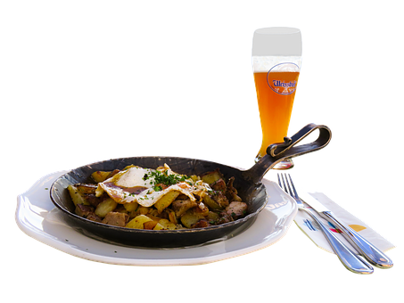 Eat, Drink, Food, Beer, Wheat Beer, Beer Glass, Cutlery