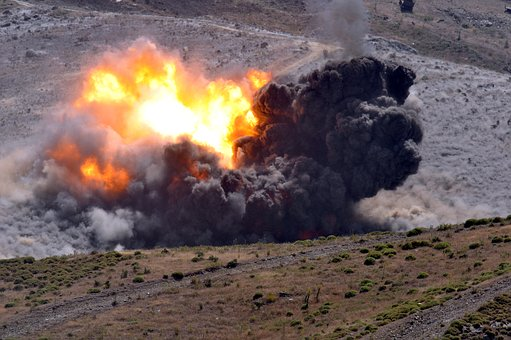 Soldier, Weapons, Drill, Explosion, Attack, War, Sky