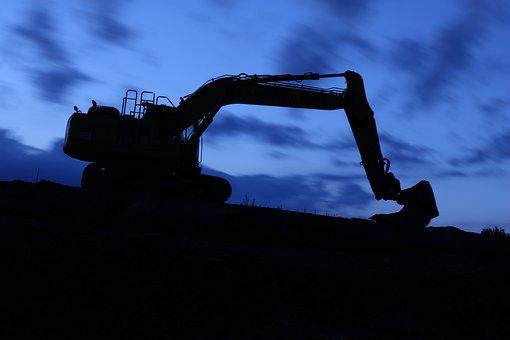 Night, Movement, Long Exposure, Excavators, Site