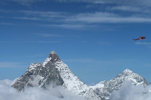 Mattehorn, Helicopter, Swiss, Zermatt