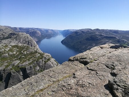 Norway, Fjord, Preikestolen, Hike, Mountains, Stone