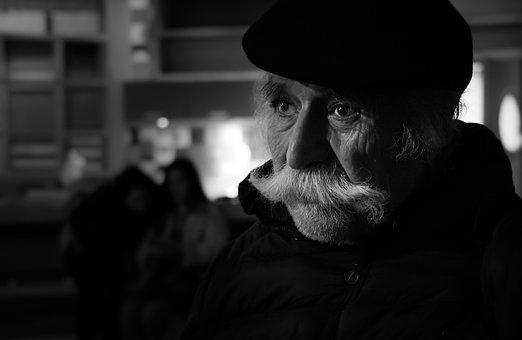 Photographer, Old, Elder, Old Man, Black And White