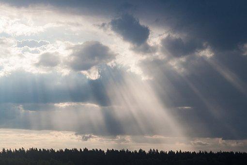 Sun, Light, Rays, Sky, Clouds, Bright, Happy, Friendly
