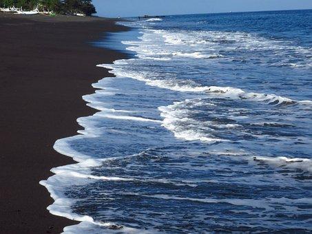 Bali, Ocean, Indian Ocean, Water, Beach, Black Sand