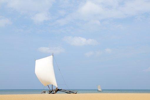 Sail, Boat, Beach, Sand, Yellow, White, Blue, Sky, Sea