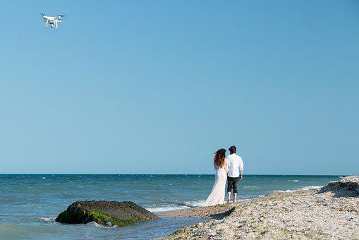 Drone, Weeding, Beach, Quadcopter, Flying, Couple