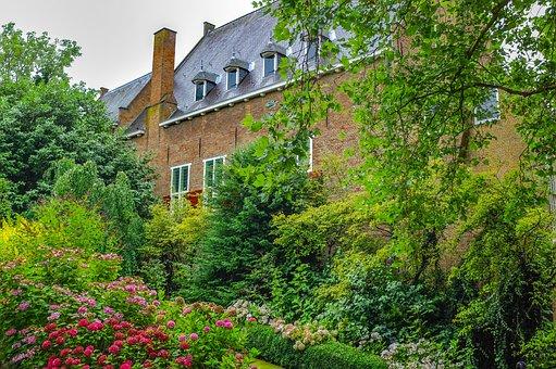House, Home, Garden, Luxurious Vegetation, Flowers