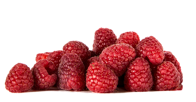 Raspberries, Fruit, Isolated, Food, Healthy, Vitamins