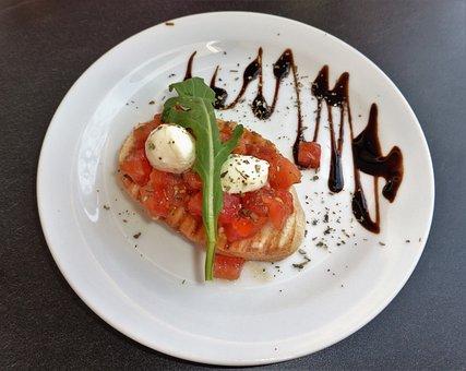 Food, Fresh, Healthy, Italian, Bruschetta, Tomato