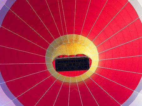 Balloon, Hot, Air, Red, Basket, Up, Radial, Circle, Fly